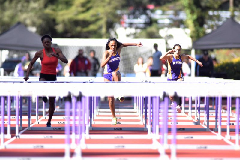 Devanique Brown, hurdler for the SF State Gators women's track and field team came in a close second place in the 100 meter hurdles event on Saturday, Feb. 27, 2016 at Cox Stadium. (Eric Chan / Xpress)