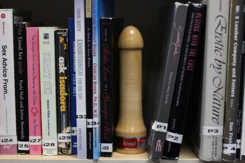 A variety of books ranging from fiction and erotica to sex education are available for students by EROS, an Associated Students, Inc. program at SF State created to teach students about safe sex in San Francisco, CA on Monday, Feb. 8, 2016. (Xpress/Alex Kofman)