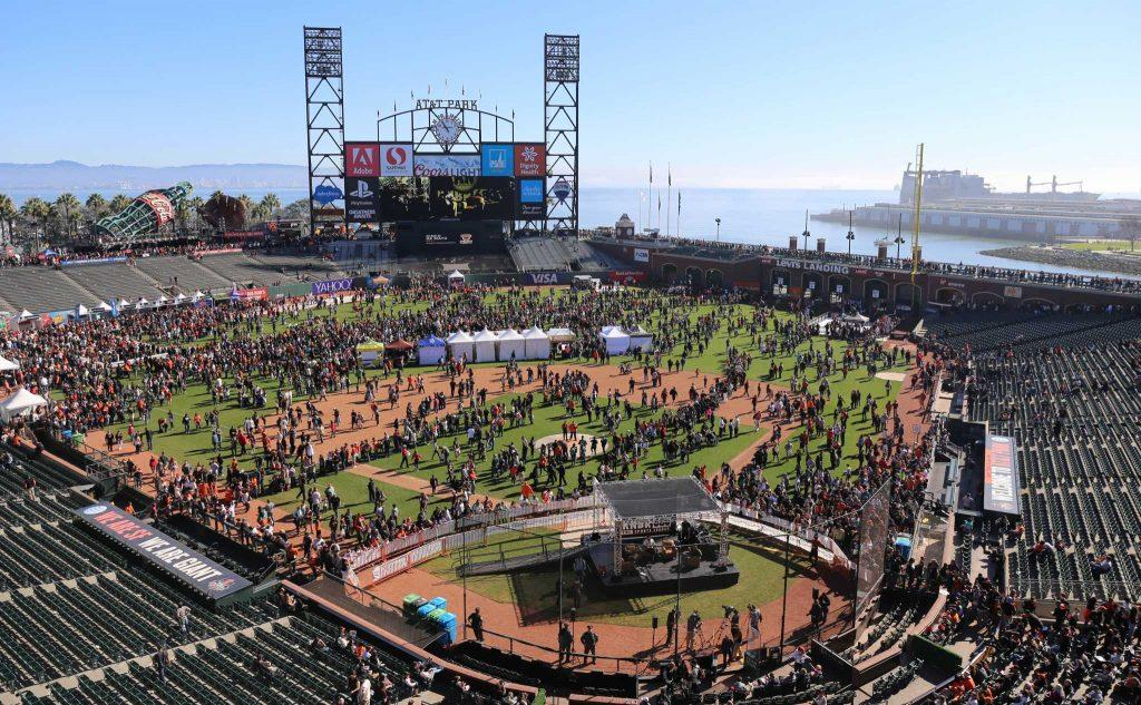Fans fill AT&T Park during FanFest on Saturday February 13, 2016. (Aleah Fajardo / Xpress)