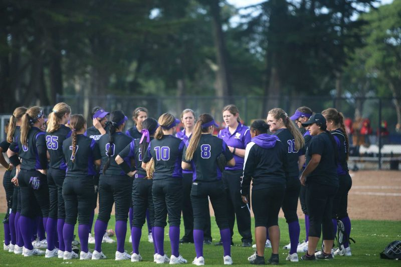 SF State Gators women softball team won the first doubleheader game against Northwest Nazarene 4-0 on Friday, February 12, 2016 at SF State. (Xpress/Perng-chih Huang)