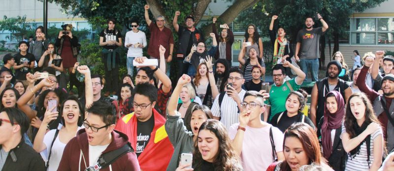 A Crowd gathers outside of the Ethnic studies building to join the movement that followed after the student meeting on Tuesday, Feb. 23, 2016. (Xpress / Ryan Zaragoza)