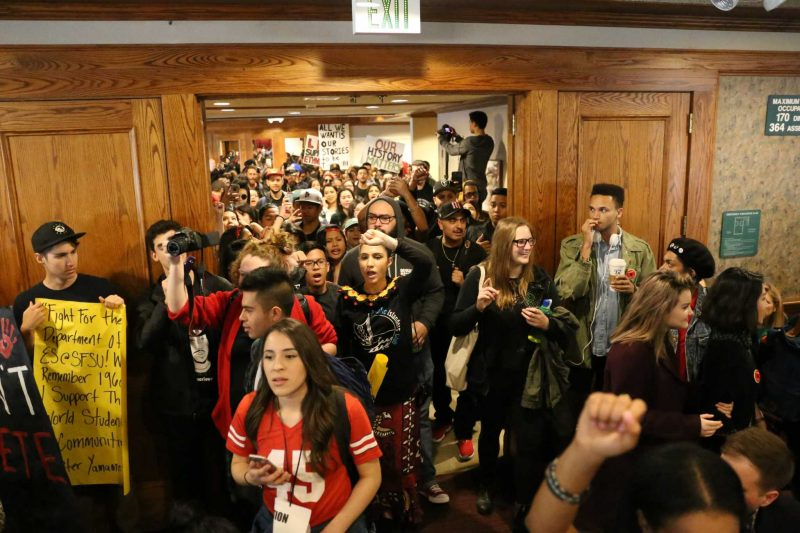 Students and faculty members flood the Seven Hills Conference Center Center before before meeting with President Leslie Wong regarding the proposed budget cuts within the College of Ethnic Studies at SF State on Thursday February 25, 2016. (Aleah Fajardo / Xpress)