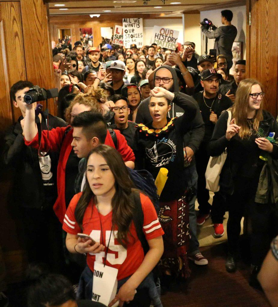 Students and faculty members flood the Seven Hills Conference Center before meeting with President Leslie E. Wong regarding the potential spending cuts within the College of Ethnic Studies on Thursday, Feb. 25. (Aleah Fajardo / Xpress)