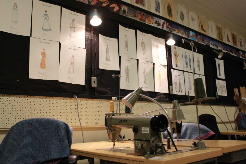 Seagull costume designs displayed on the wall at The Costume Shop inside the department of theater arts on Monday, Fed. 29, 2016. (Ryan Zaragoza / Xpress).