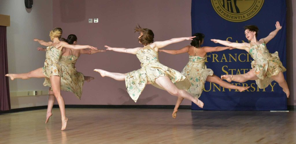 Student dancers perform during creative arts dance studio ribbon cutting ceremony at Creative Art Building in SF State Wednesday, March.2. (Qing Huang/Xpress)