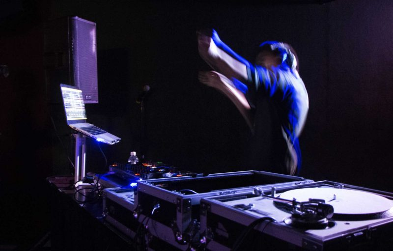 SF State student Ryan Pau competed in and won the DJ battle in The Depot at SF State on Wednesday, April 13. (Connor Hunt / Xpress)