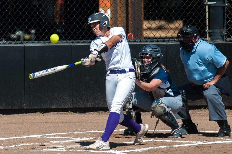 SF State Gators infielder Kayli Shaw singles against the Sonoma State Seawolves at the SFSU Softball Field, Wednesday, April 6, 2016. (Taylor Reyes / Xpress)
