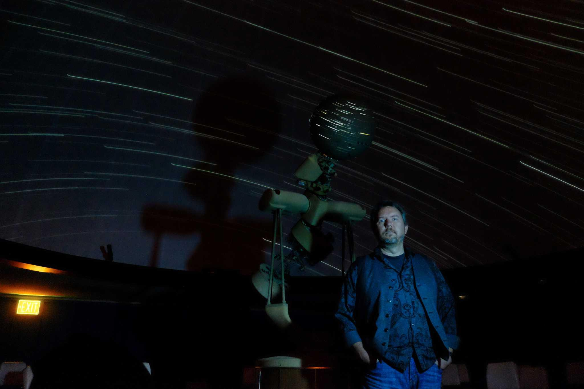 Stephen Kane, a professor of physics and astronomy at SF State, in the campus planetarium, Friday, April 8, 2016.  Kane's mapping of planet 55 Cancri revealed similarities with Earth. (Taylor Reyes / Xpress)