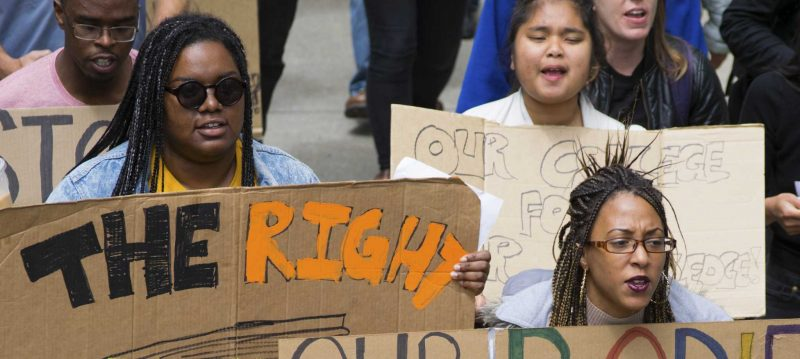 SF State students and supporters marched in solidarity with the SF State College of Ethnic Studies. The ìState of Emergencyî May Day action held a goal to defend funding for public higher education. (Gabriela Rodriguez / Xpress)