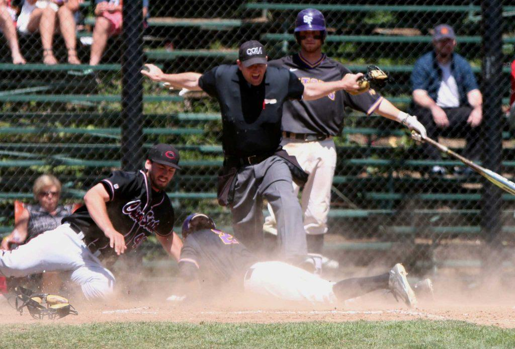 Andrew Breen (2), infielder for the SF State Gators baseball team, slides into home plate and is pronounced safe during a game against the Chico State Wildcats in which SF State won 6-2 in San Francisco, CA on Sunday, May 1, 2016. (Alex Kofman / Xpress)