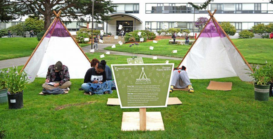 Visual design students make an environmental statement with PARK(ing) Day