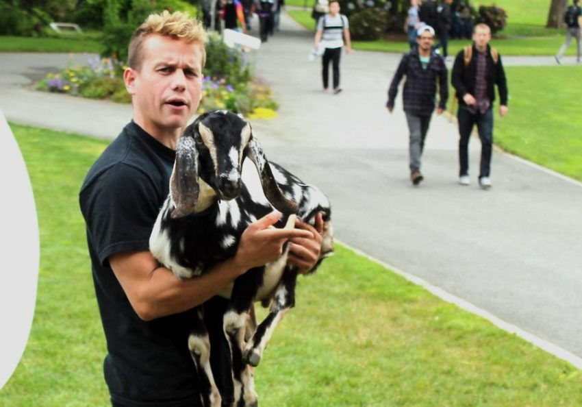 SF State student Parker Sha, a Pi Kappa Phi member carries  a goat in the Quad at SF State on Thursday, Sept. 1, 2016. (Pablo Caballero/XPRESS)