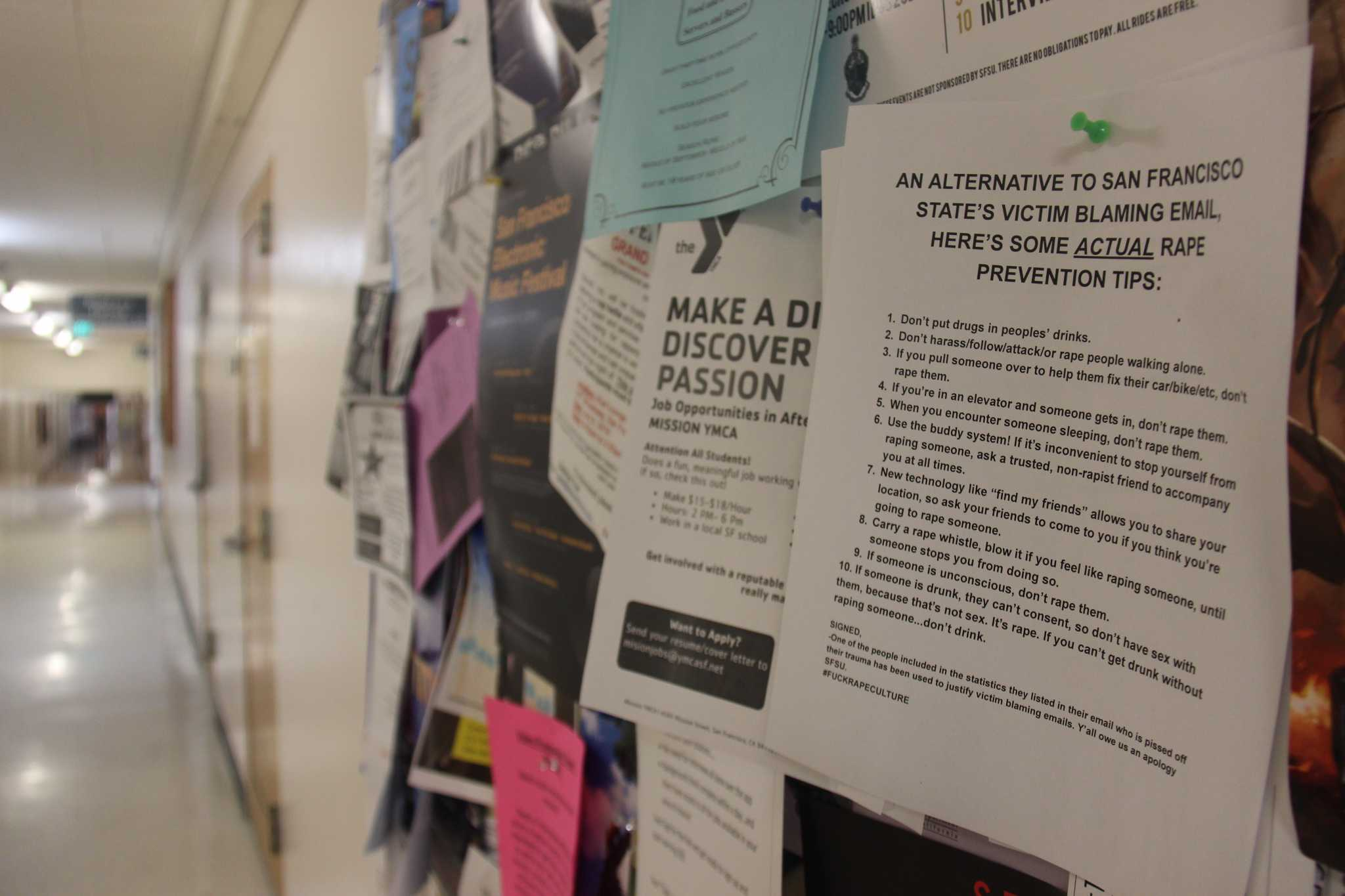 Copies of an anonymous letter accusing SF State of victim blaming were found posted around the Health & Social Sciences Building and in the Creative Arts Building on Saturday, Sept. 10, 2016.