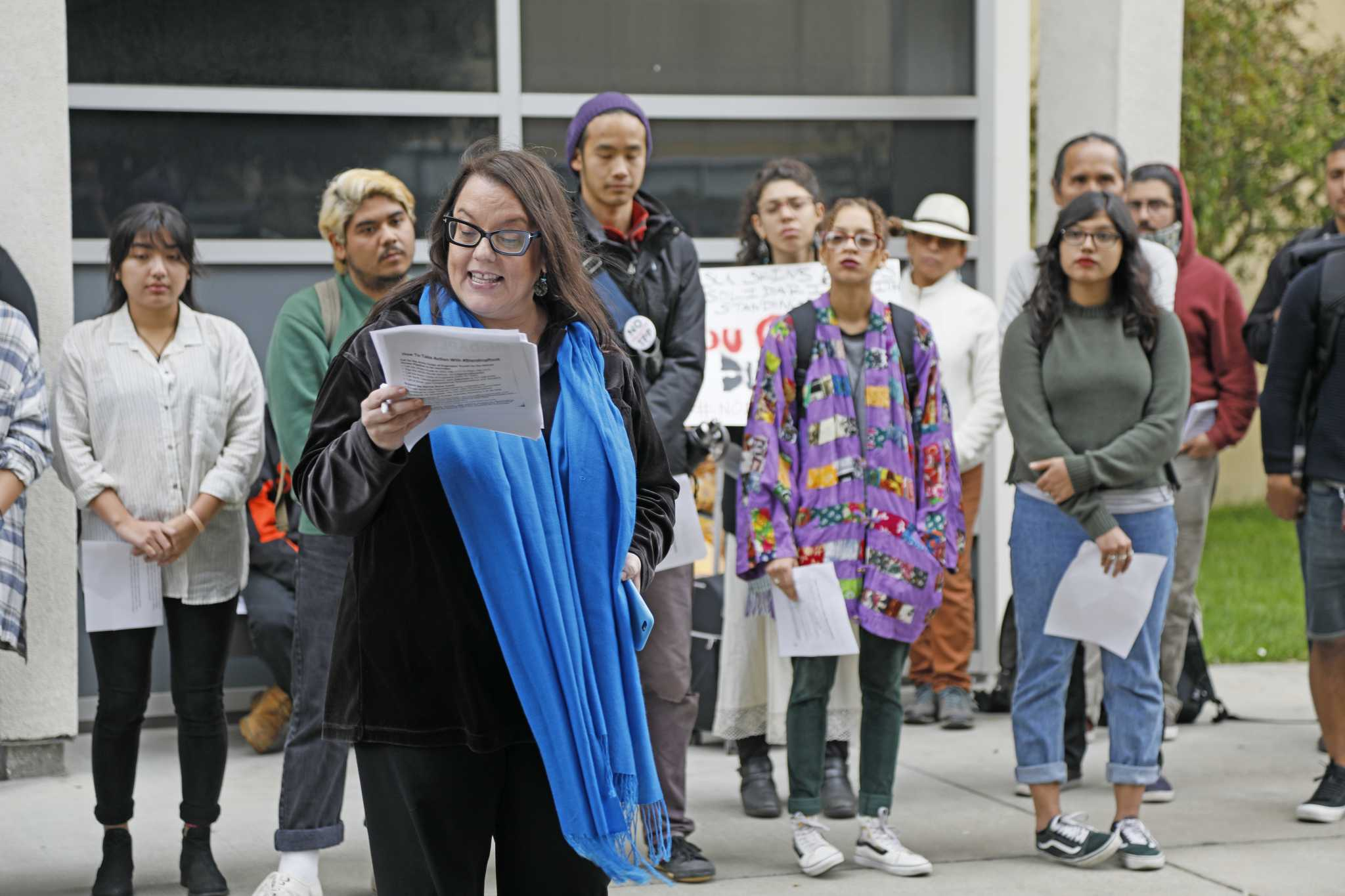 Joanne Barker, a member of the Lenape Nation and an American Indian studies professor begins the teach-in of the North Dakota Access Pipeline in front of the Ethnic Studies and Psychology buildings on Thursday, Sept. 15, 2016. Barker began with an introduction about the harm of polluted water resources and climate change. (Steven Ho/Xpress)
