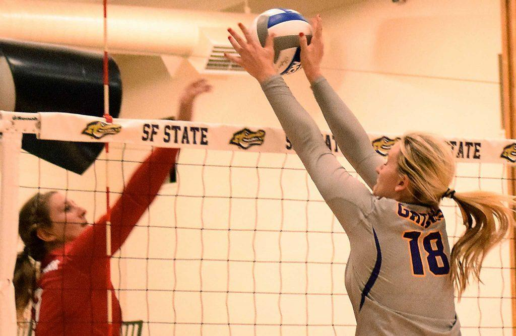 SF State Gators junior outside hitter Christine Johnson (18) blocks the ball during their lose to Simon Fraser University in the Swamp on Thursday, Sept. 8, 2016. The Gators lost in three straight sets. (Eric Chan/Xpress)