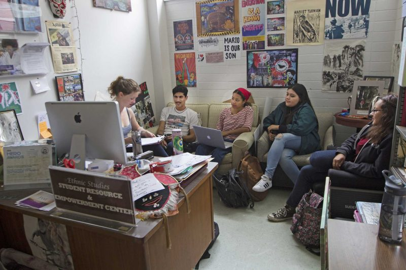 (Left to right) Officers of the SF State Ethnic Studies Students Organization, President Sophia Wenzel, Vice President Nureldin Maslu, Social Media Manager Skye Bennike, Treasurer Iliana Jacobo and Secretary Heaven Estrada go over their meeting plans in EP 110 B on Wednesday, Aug. 31, 2016. (Brenna Cruz/Xpress)
