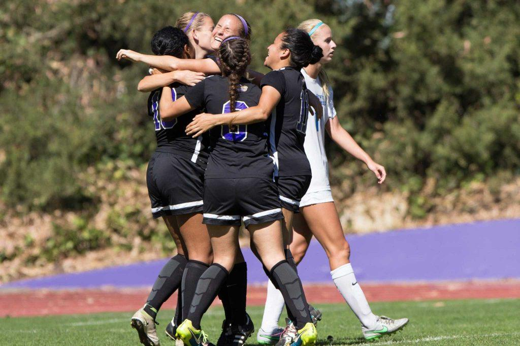 The SF State Gators celebrate the only goal of the game against Cal State San Marcos by Gators' senior defender Jada Williams (13) at Cox Stadium on Sunday, Oct. 9, 2016. (Brenna Cruz/Xpress)