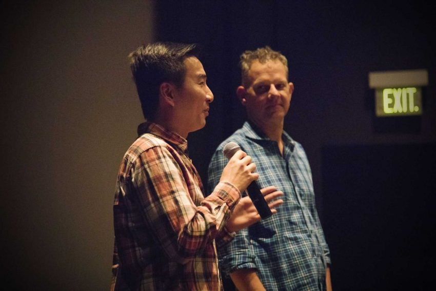 Filmmakers S. Leo Chiang (left) and Johnny Symons, SF State documentary professor, answer audience questions after the screening of Out Run in the August Coppola Theatre on Tuesday, Oct. 11, 2016. The film was presented in honor of National Coming Out Day.