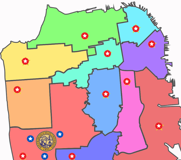Interactive map of selection of polling places by district in San Francisco.