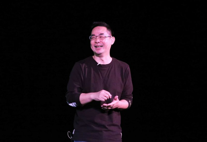 "Children's book author and illustrator Jimmy "" Jimi"" Liao reacts to the host before presenting his work to a packed audience during the ""Dreamy Afternoon"" event at McKenna Theatre on Saturday, Oct. 22, 2016."