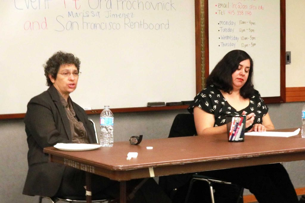 JFKU College of Law employee Ora Prochovnick and San Francisco rent board member Marissa Jimenez speak to students during the Housing Rights event in the Rosa Park room in the Cesar Chavez Student Center on Monday, Oct. 31, 2016.