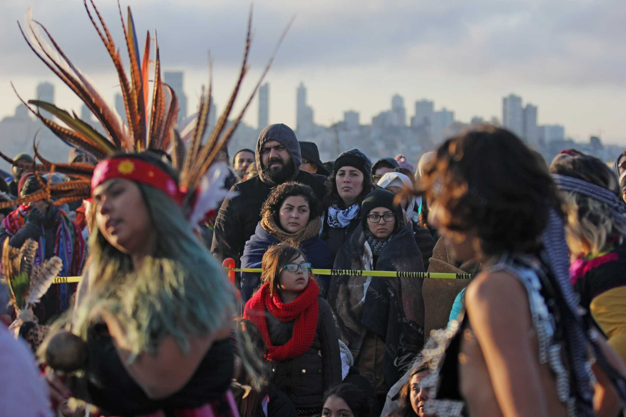 Approximately 5,000 people gathered on Alcatraz Island to celebrate the sunrise during the annual Indigenous Peoples Sunrise Ceremony on Thursday, Nov. 24, 2016. (George Morin/Xpress)
