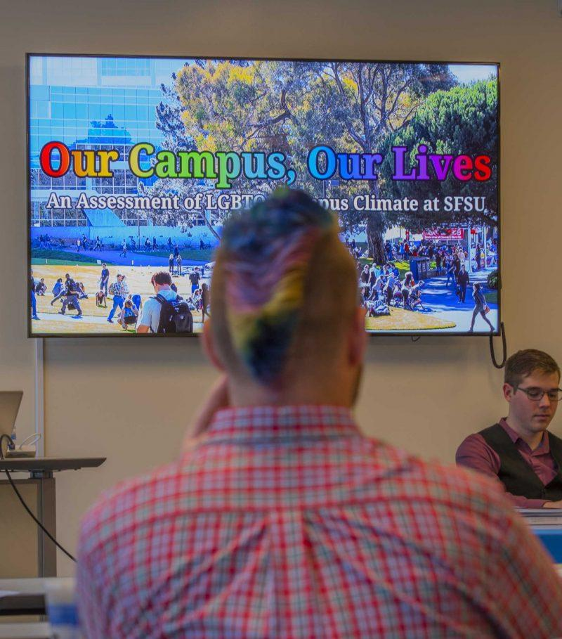 Erik Boyd, a SF State graduate student of Sexuality Studies talks with students and faculty about the campus climate for LBGTQ students during the LGBTQ Campus Climate event in J. Paul Leonard Library room 121 on Tuesday, Oct. 25, 2016.  (Kin Lee/Xpress)