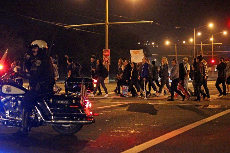 Trump wins, 200 students march