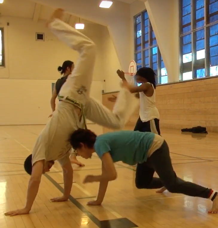 Members+of+the+Capoeira+club+at+SF+State+practice+in+the+gym.