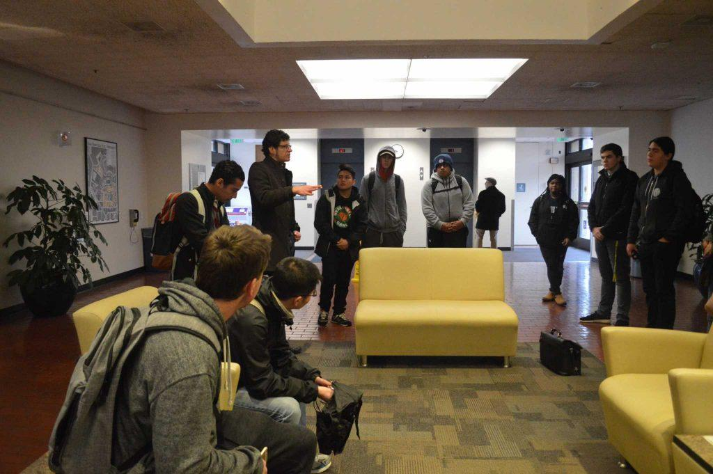 Robert Ovetz addresses a group of CASHH members in the lobby of the administration building on campus on Thursday, December 8, 2016. (Photo: Jacqueline Haudek)