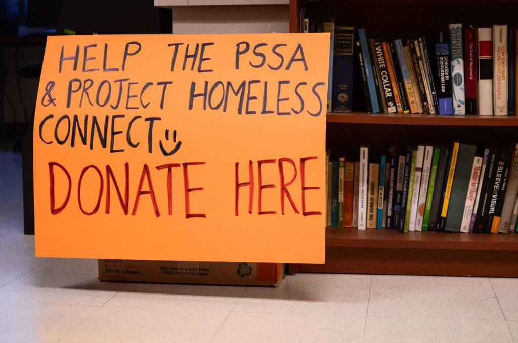 A donation box in a political science classroom at SF State where PSSA collects clothes, bags and backpacks to help the homeless on Thursday, Dec. 8. Photo: Melissa Minton