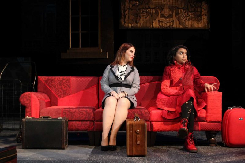 Regina Leon (right) and Elizabeth Johnson (left) act out a scene from Sofa Sin Casa play at SF State on Wednesday, Nov. 30, 2016. (Jeianne Baniqued/Xpress)