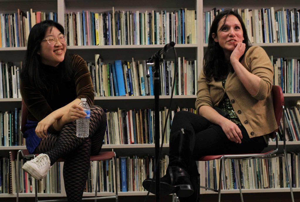 Oki Sogumi and Wendy Trevino host Q&A after presenting their poetry at the SF State Poetry Center on Feb. 16, 2017 in San Francisco, Calif. (Alina Castillo/Xpress)