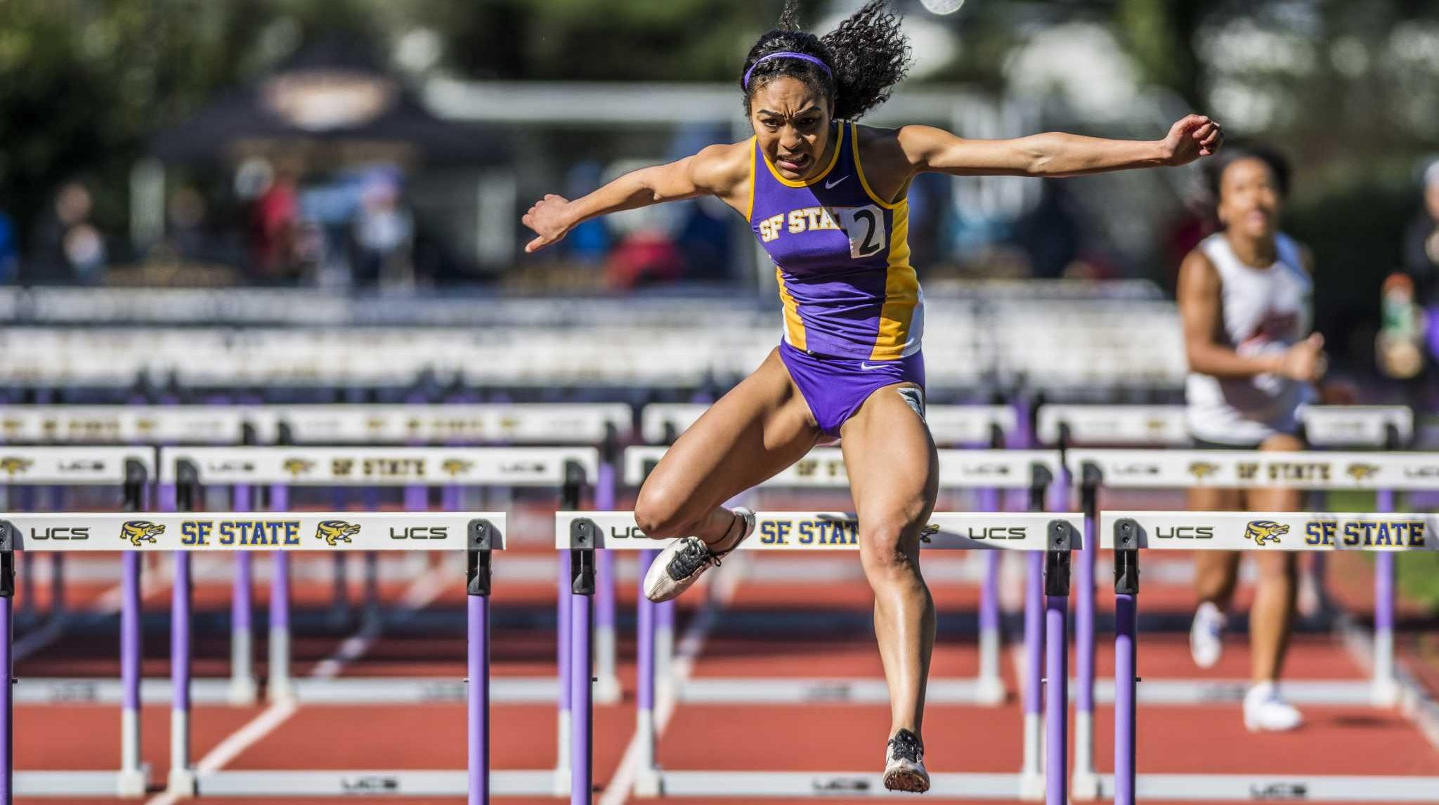 SF State Gators' freshman Jayden Dalton takes third place of 100m hurdles run with a time of 15.78 during the track and field Johnny Mathis Invitational at the Cox Stadium in San Francisco on Saturday, Feb. 25, 2017. This is Dalton's debut running for the Gators (Lee Kin/Xpress).