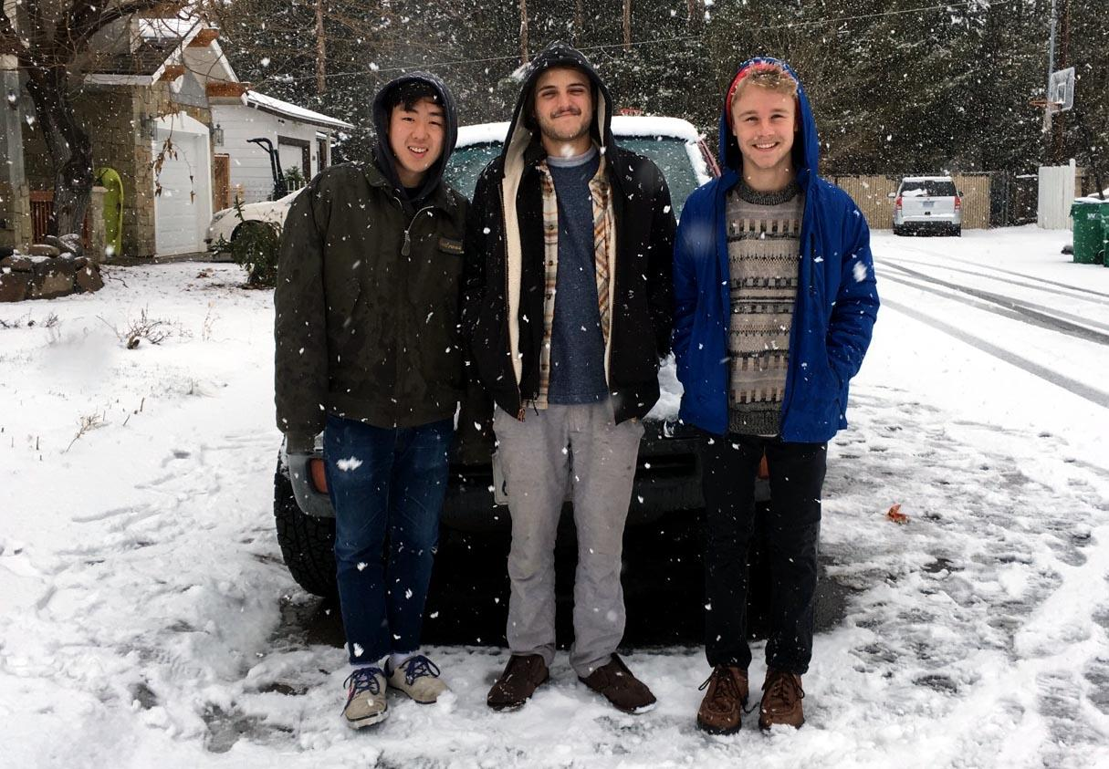 (L-R) Chris Lee, Max Volen, and Jack Connor post for a photo in Reno, Nevada for their tour in January, 2017. (Courtesy of Sierra Norton Jickling)