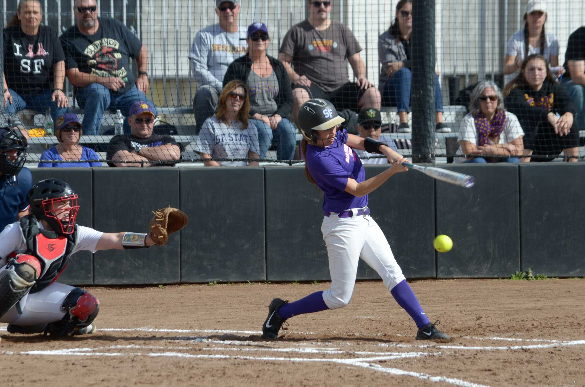 Gabby Reta up to bat during the double header game against the Cal State Pioneers on Feb. 12, 2017 at San Francisco State University. The Pioneers won both games held on Sunday.  (Christianna Fjelstad/ Xpress)