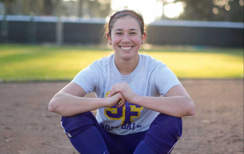 #11 Gabby Reta, a senior at San Francisco State University from Tustin, Calif., poses for a portrait on the softball field at San Francisco State University on Monday, January 30, 2017 (Sarahbeth Maney/ Xpress).