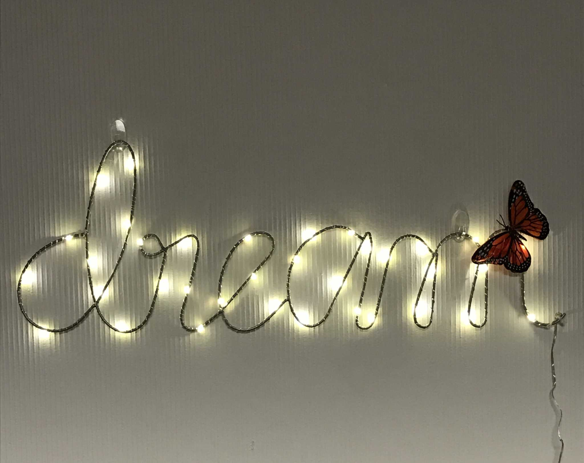 """Dream"" light sign with a monarch butterfly at the Dream Resource Center at SF State on Feb. 7, 2017. Butterflies were a prominent decoration throughout the night. The butterfly has become a symbol of immigrant rights. (Nicki McClelland/Xpress)"