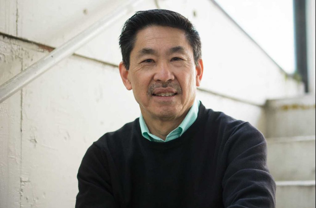 Jon Funabiki poses for a portrait on campus at SF State in San Francisco on Tuesday, February 28, 2017. (Sarahbeth Maney/Xpress)