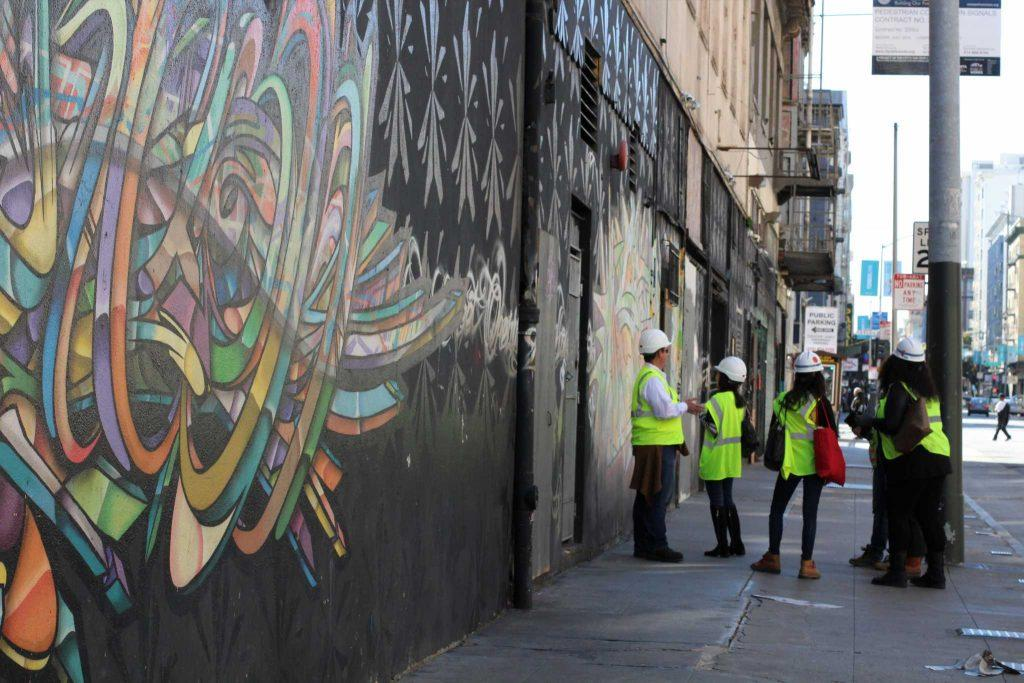 A group of hard hat inspectors assess the building located at 950 Market Street in the Tenderloin that will soon be home to the trans community on March 2, 2017 in San Francisco, Calif. (Alina Castillo/Xpress)