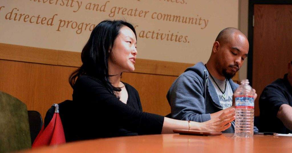 .District 6 SF Supervisor Jane Kim (left) speaks during a conference regarding the progress of civil rights in the Richard Oakes Multicultural Center at SF State in San Francisco, Calif., on Mar 30, 2017 (Aaron Levy-Wolins/Xpress).