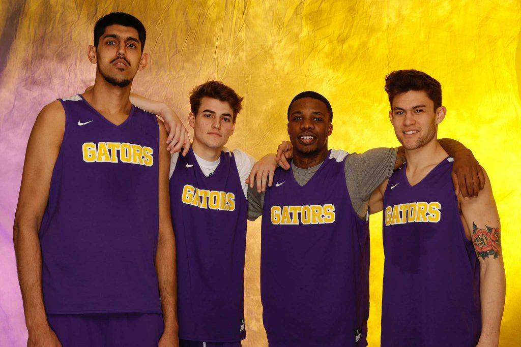 (L-R) SF Gators' Aj Kahlon (24), Nick Calcaterra (12), Warren Jackson (1), and Coley Apsay (10) pose for a portrait at SF State on March 7, 2017 in San Francisco, Calif. (Mason Rockfellow/ Xpress)