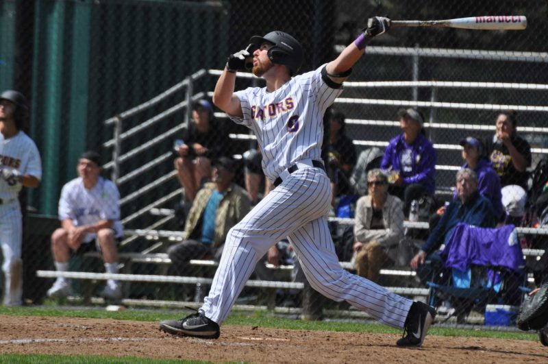 First baseman Chris Nicholson up to bat at Maloney Field against Sonoma State, Wednesday, March 29. (Renee Smith/Xpress)