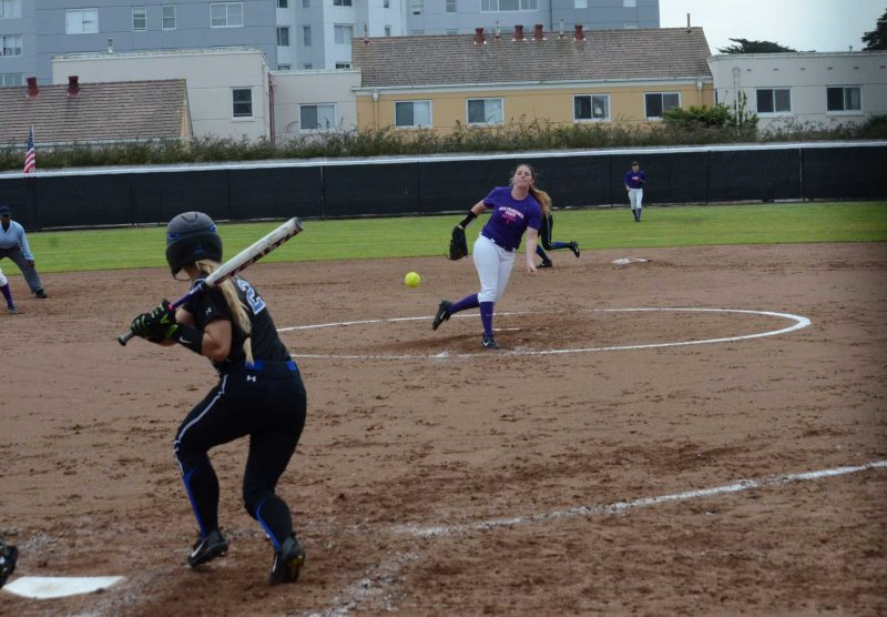 Megan Clark pitching during a game against the California State University San Marcos Cougars on Mar. 10, 2017, at San Francisco State University. San Francisco State won the game 6-1. (Christianna Fjelstad/ Xpress)