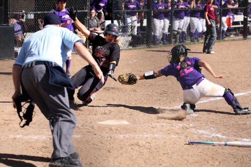 SF state Junior, C, Celeste Adriano (12), tags out Junior Chico State Wildcat, Claire Wayne (22) at home play at SF State on March. 13, 2017. (Kyler Knox/Xpress)