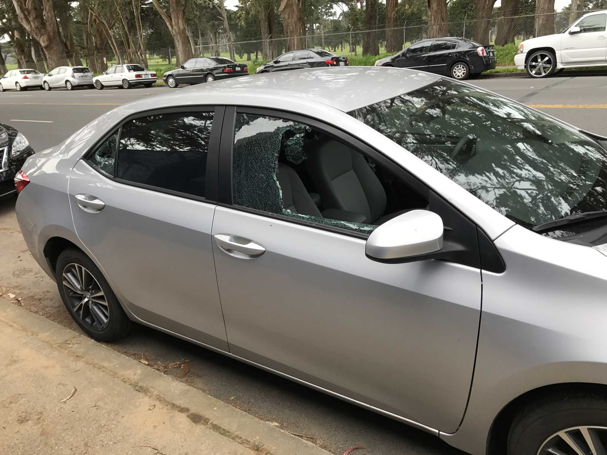 A student found their car windows smashed and the glove compartment open on Lake Merced Boulevard on Friday, March 10, 2017 near SF State (Ivan Corona/ Xpress).
