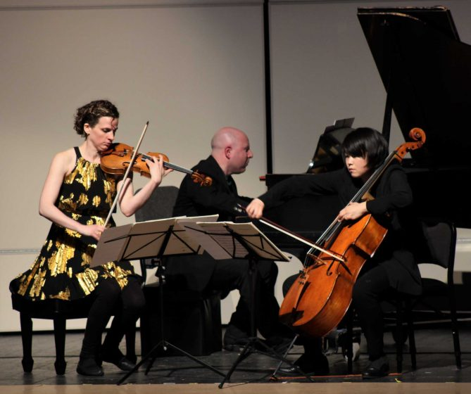The Delphi Trio performs a piece by Bolcom during their concert in the McKenna Theatre at SF State on April 7, 2017 in San Francisco, Calif. (Alina Castillo/Xpress)