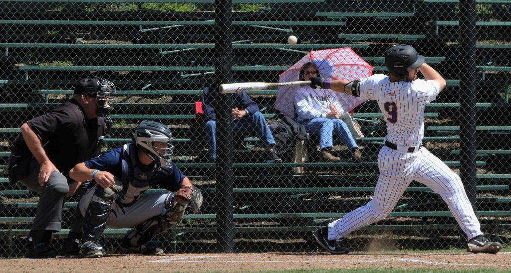 SF State first baseman Chris Nicholson hits a foul ball at a game against CSUMB at SF State on April 14, 2017 in San Francisco, Calif. (Alina Castillo/Xpress)