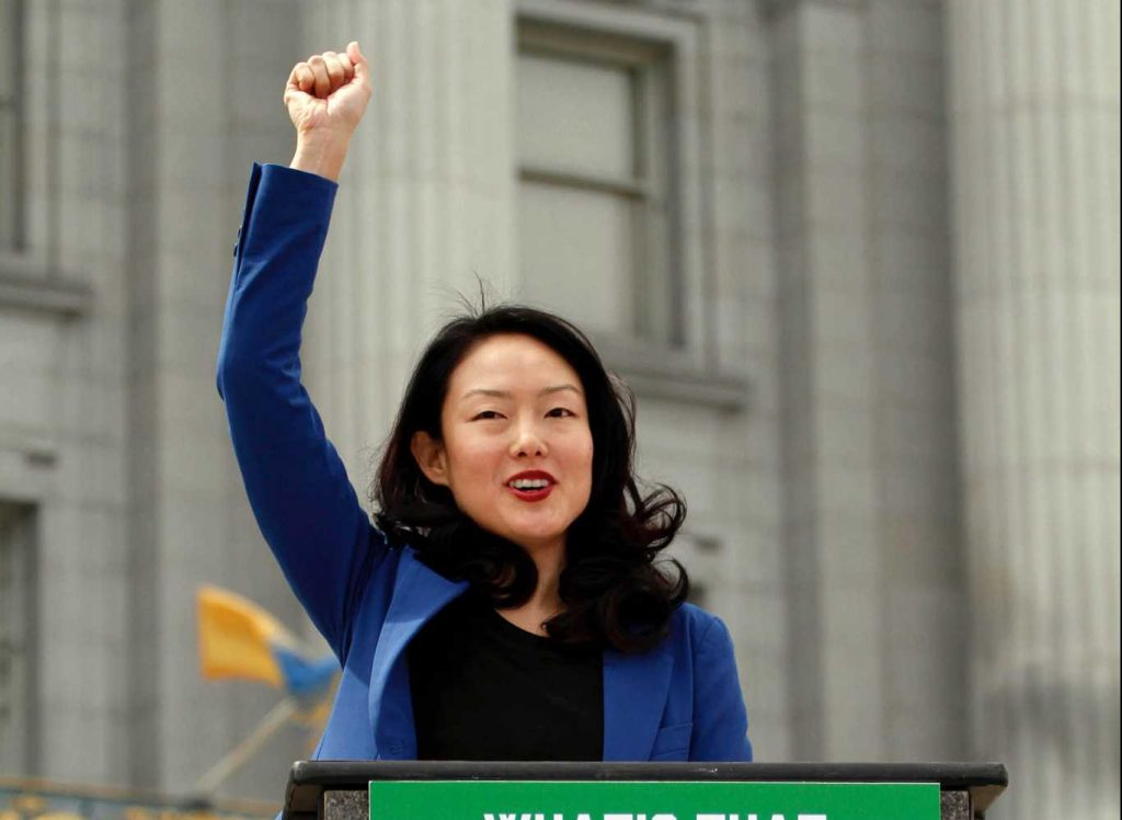 Supervisor Jane Kim speaks during the Tax March against Trump and him not releasing his tax statements on April 15, 2017, in San Francisco, Calif. (Mason Rockfellow/Xpress).
