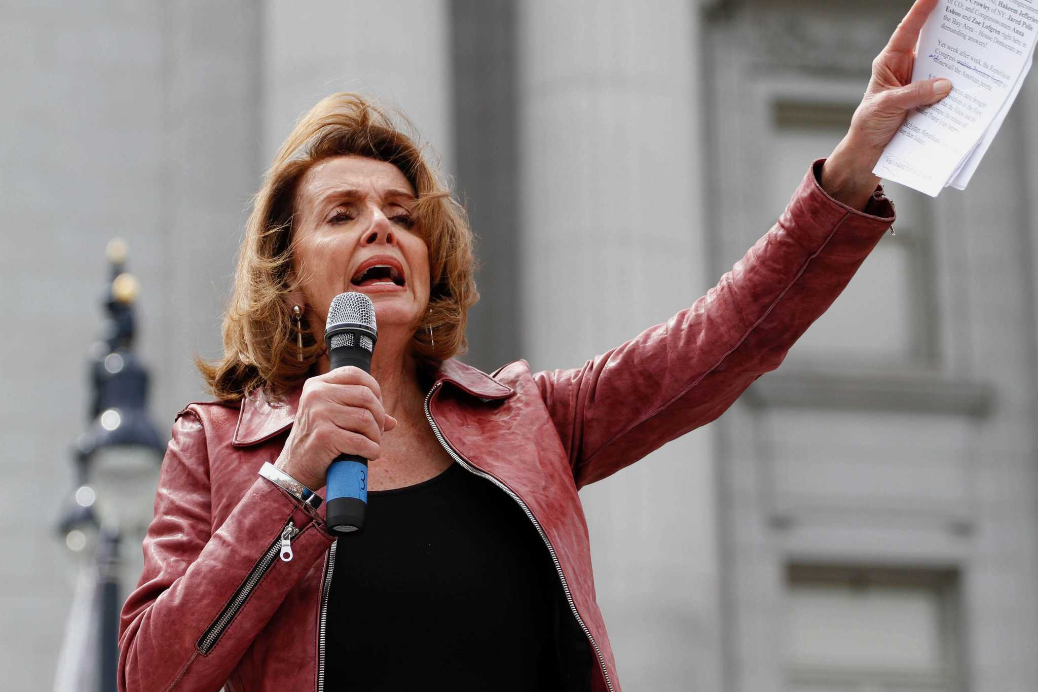 Nancy Pelosi speaking during the Tax March against Trump and him not releasing his tax statements on April 15, 2017, in San Francisco, Calif. (Mason Rockfellow/Xpress)